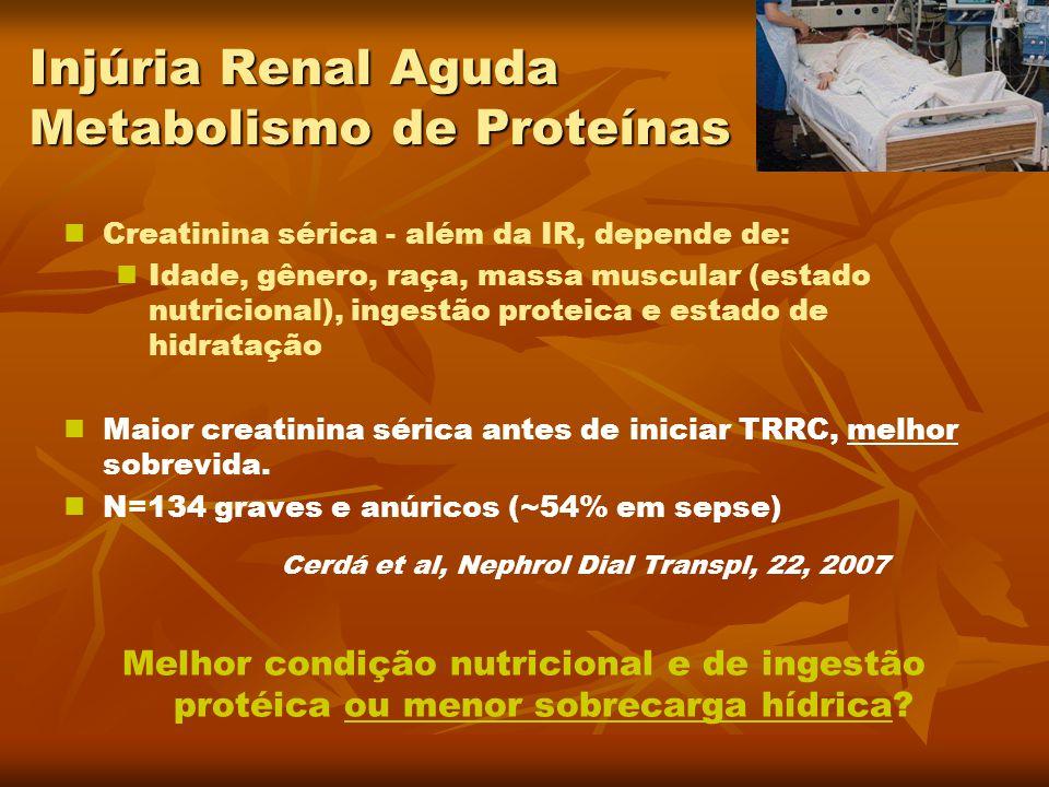 Injúria Renal Aguda Metabolismo de Proteínas Creatinina sérica - além da IR, depende de: Idade, gênero, raça, massa muscular (estado nutricional), ing