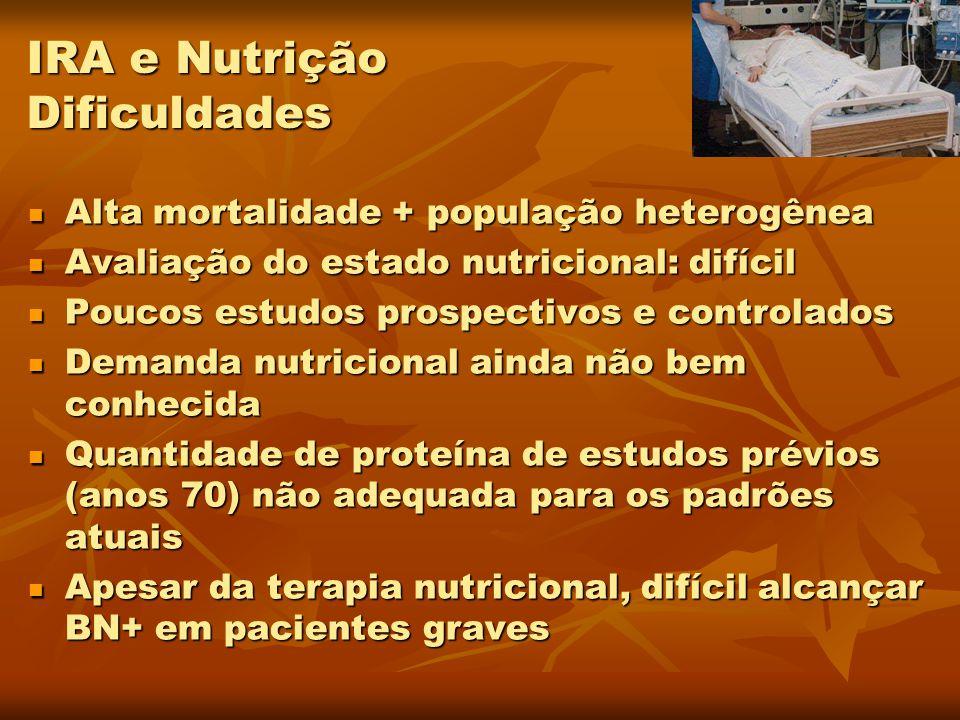 Alta mortalidade + população heterogênea Alta mortalidade + população heterogênea Avaliação do estado nutricional: difícil Avaliação do estado nutrici