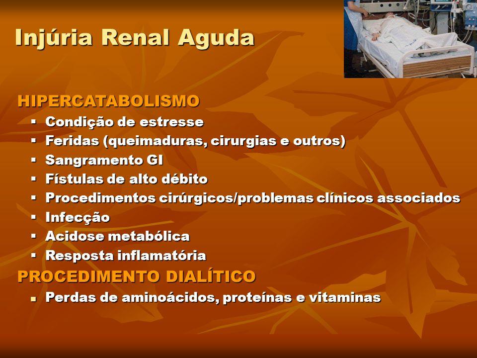 Injúria Renal Aguda HIPERCATABOLISMO HIPERCATABOLISMO  Condição de estresse  Feridas (queimaduras, cirurgias e outros)  Sangramento GI  Fístulas d