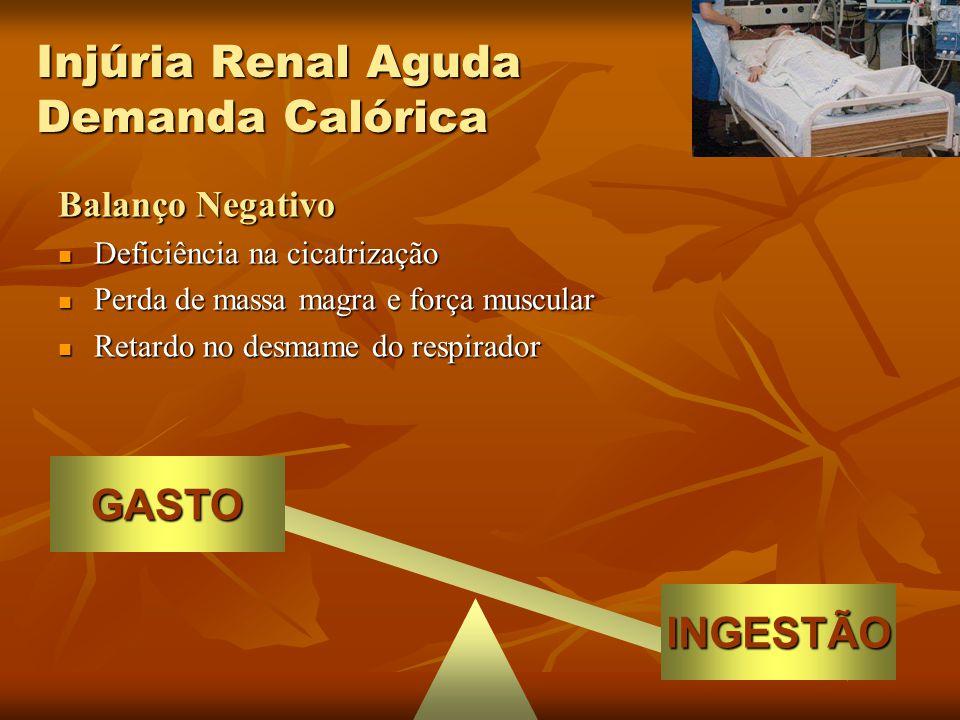 INGESTÃO GASTO Balanço Negativo Aumento na produção de CO 2 Aumento na produção de CO 2 Retardo no desmame do respirador Retardo no desmame do respirador Promoção de esteatose hepática Promoção de esteatose hepática Aumento da glicemia Aumento da glicemia Aumento do catabolismo proteico no estresse (grande quantidade de CHO + insulina exógena) Aumento do catabolismo proteico no estresse (grande quantidade de CHO + insulina exógena) Veech et al, Am J Clin Nutr, 44, 1986 Berne et al, J Clin Invest, 84, 1989 Macias et al, JPEN, 20, 1996 Injúria Renal Aguda Demanda Calórica