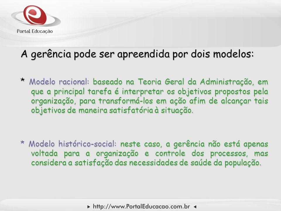 A gerência pode ser apreendida por dois modelos: * Modelo racional: baseado na Teoria Geral da Administração, em que a principal tarefa é interpretar