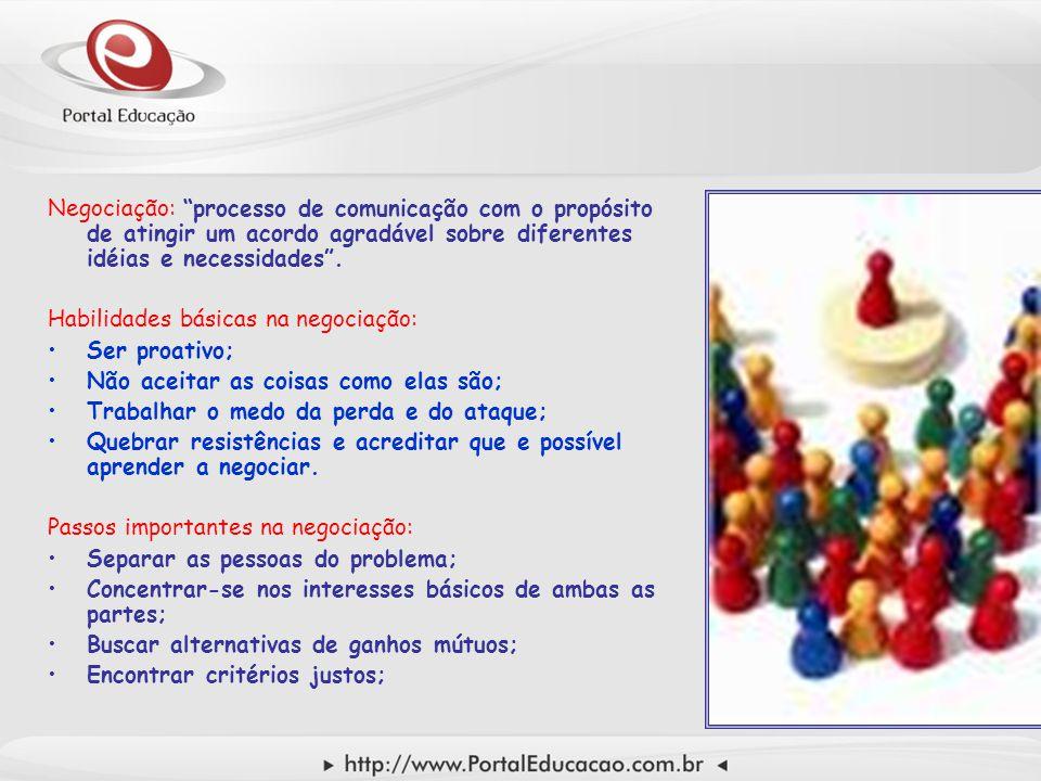"""Negociação: """"processo de comunicação com o propósito de atingir um acordo agradável sobre diferentes idéias e necessidades"""". Habilidades básicas na ne"""