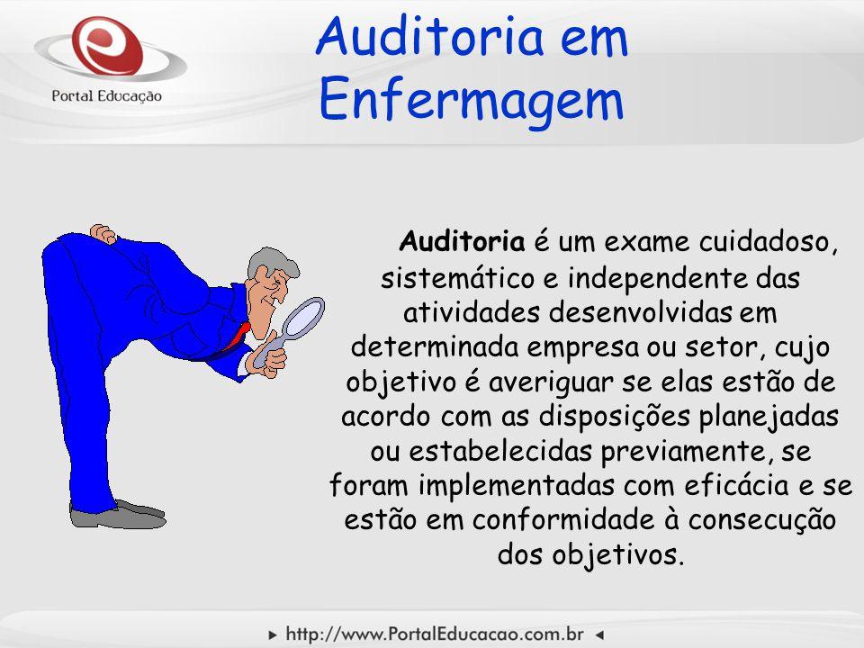 Auditoria em Enfermagem Auditoria é um exame cuidadoso, sistemático e independente das atividades desenvolvidas em determinada empresa ou setor, cujo