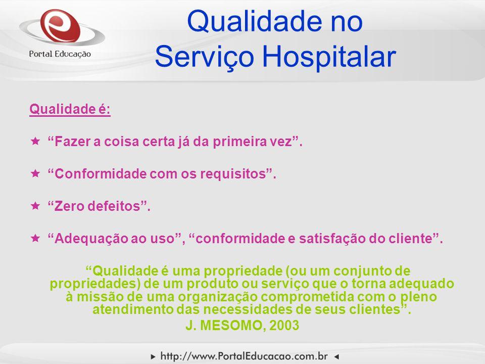 """Qualidade no Serviço Hospitalar Qualidade é:  """"Fazer a coisa certa já da primeira vez"""".  """"Conformidade com os requisitos"""".  """"Zero defeitos"""".  """"Ade"""