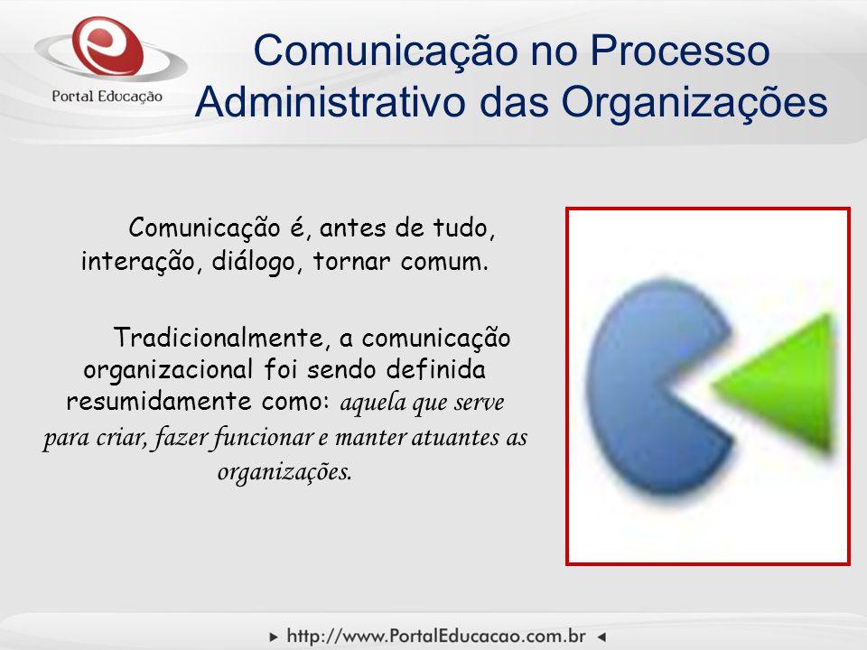 Comunicação no Processo Administrativo das Organizações Comunicação é, antes de tudo, interação, diálogo, tornar comum. Tradicionalmente, a comunicaçã