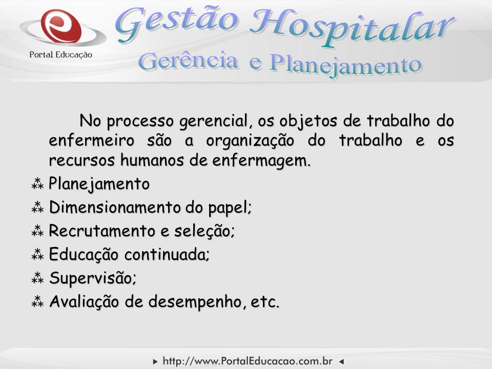 No processo gerencial, os objetos de trabalho do enfermeiro são a organização do trabalho e os recursos humanos de enfermagem.  Planejamento  Dimens