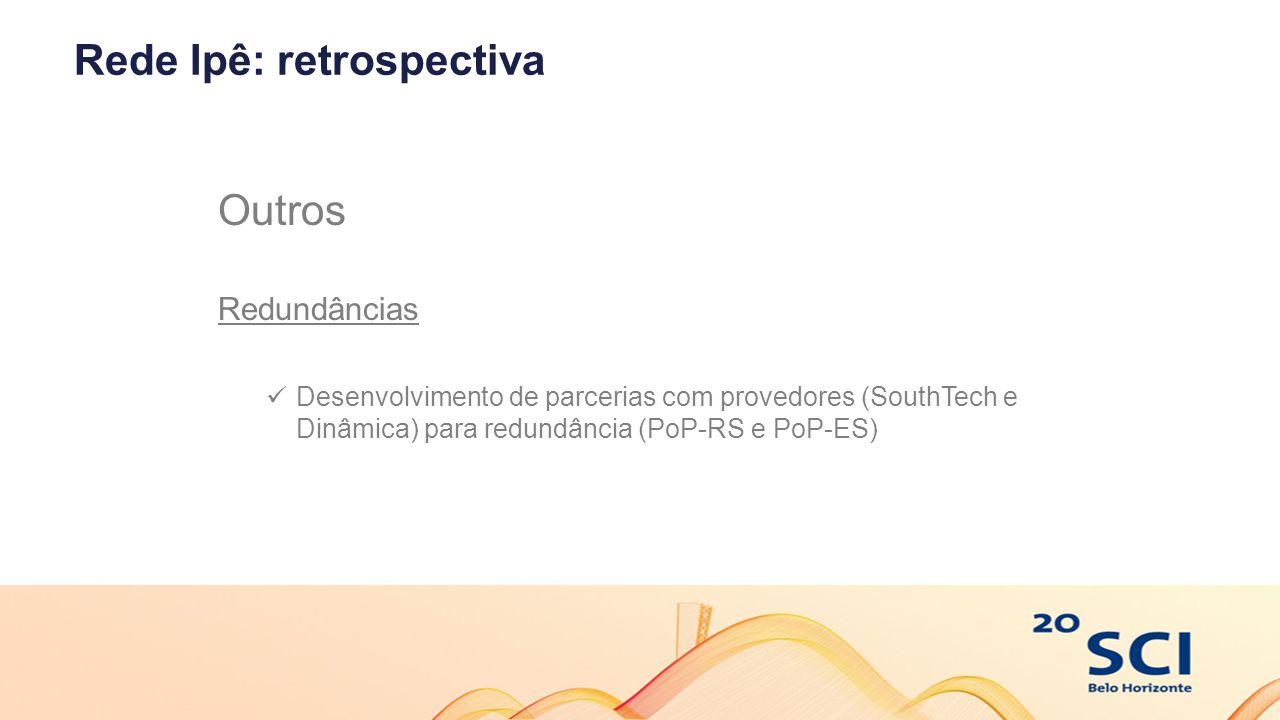 Rede Ipê: retrospectiva Outros Redundâncias Desenvolvimento de parcerias com provedores (SouthTech e Dinâmica) para redundância (PoP-RS e PoP-ES)