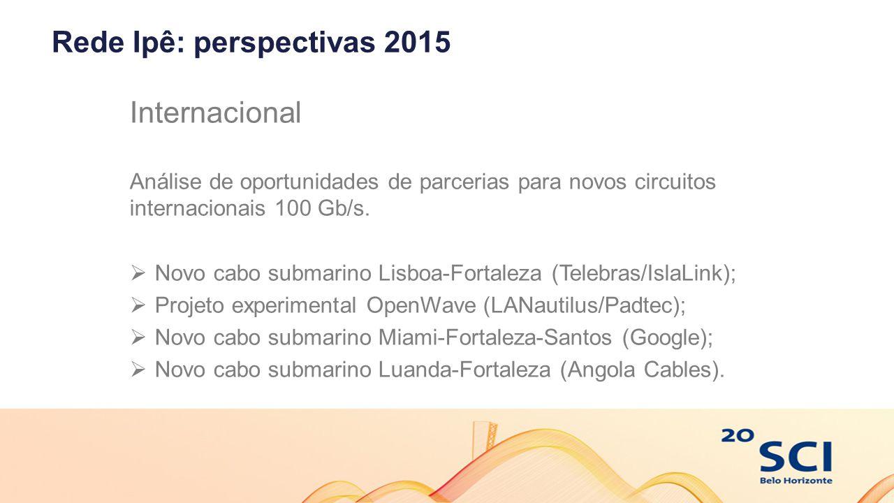Rede Ipê: perspectivas 2015 Internacional Análise de oportunidades de parcerias para novos circuitos internacionais 100 Gb/s.