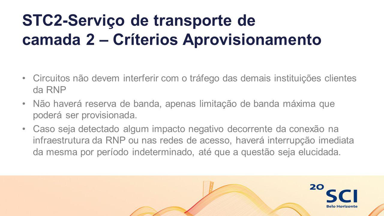 STC2-Serviço de transporte de camada 2 – Críterios Aprovisionamento Circuitos não devem interferir com o tráfego das demais instituições clientes da RNP Não haverá reserva de banda, apenas limitação de banda máxima que poderá ser provisionada.