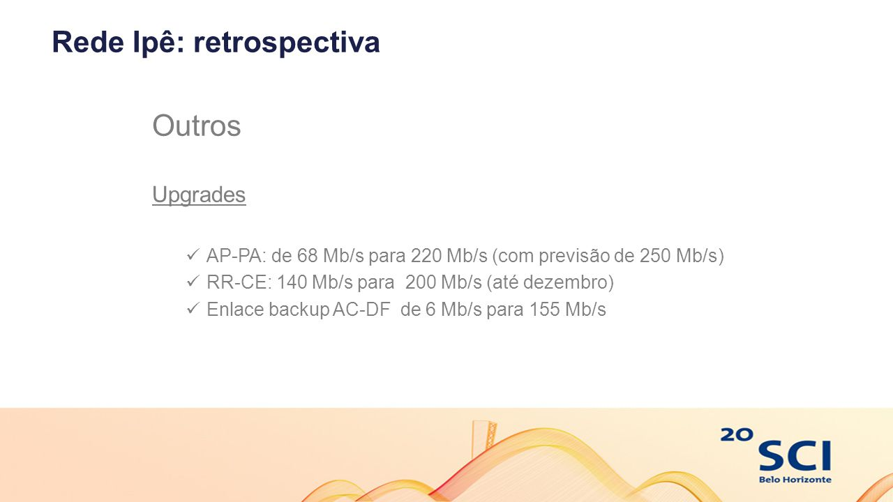 Rede Ipê: retrospectiva Outros Upgrades AP-PA: de 68 Mb/s para 220 Mb/s (com previsão de 250 Mb/s) RR-CE: 140 Mb/s para 200 Mb/s (até dezembro) Enlace backup AC-DF de 6 Mb/s para 155 Mb/s