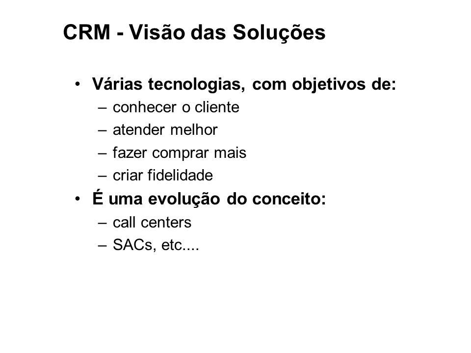 CRM - Visão das Soluções Várias tecnologias, com objetivos de: –conhecer o cliente –atender melhor –fazer comprar mais –criar fidelidade É uma evoluçã