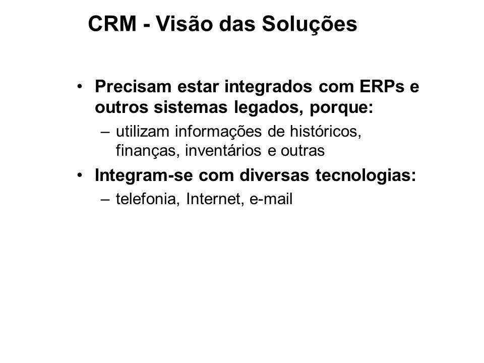 Precisam estar integrados com ERPs e outros sistemas legados, porque: –utilizam informações de históricos, finanças, inventários e outras Integram-se