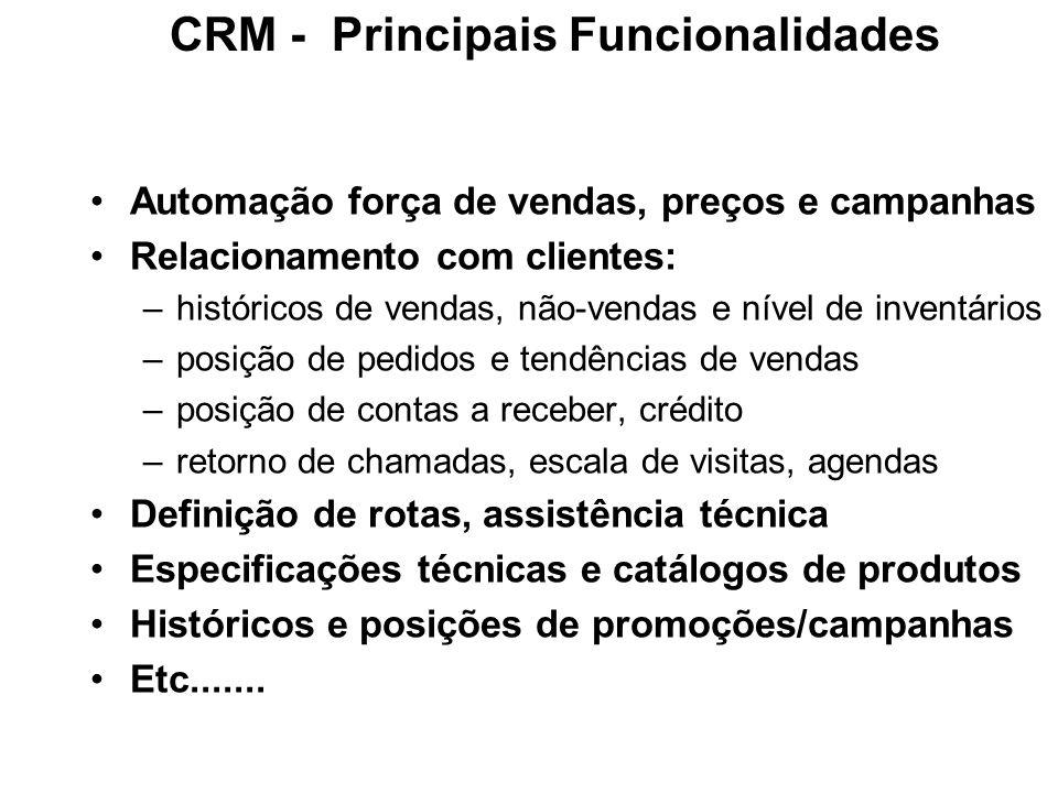 CRM - Principais Funcionalidades Automação força de vendas, preços e campanhas Relacionamento com clientes: –históricos de vendas, não-vendas e nível