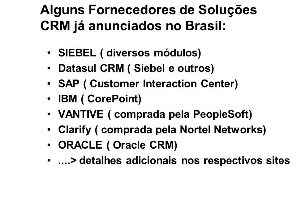Alguns Fornecedores de Soluções CRM já anunciados no Brasil: SIEBEL ( diversos módulos) Datasul CRM ( Siebel e outros) SAP ( Customer Interaction Cent