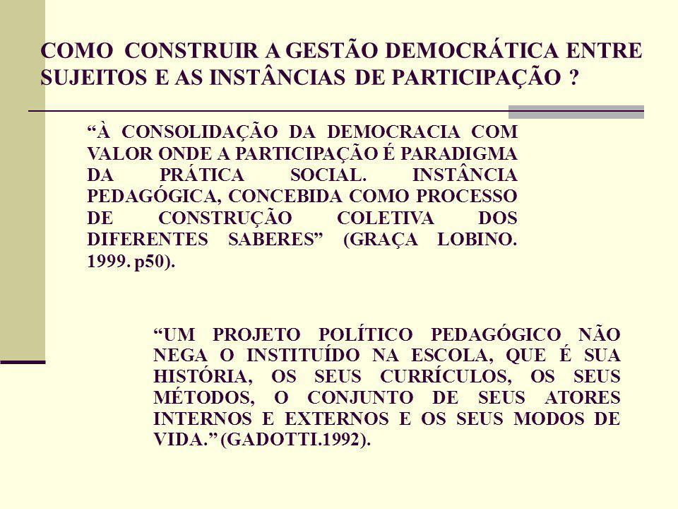 À CONSOLIDAÇÃO DA DEMOCRACIA COM VALOR ONDE A PARTICIPAÇÃO É PARADIGMA DA PRÁTICA SOCIAL.