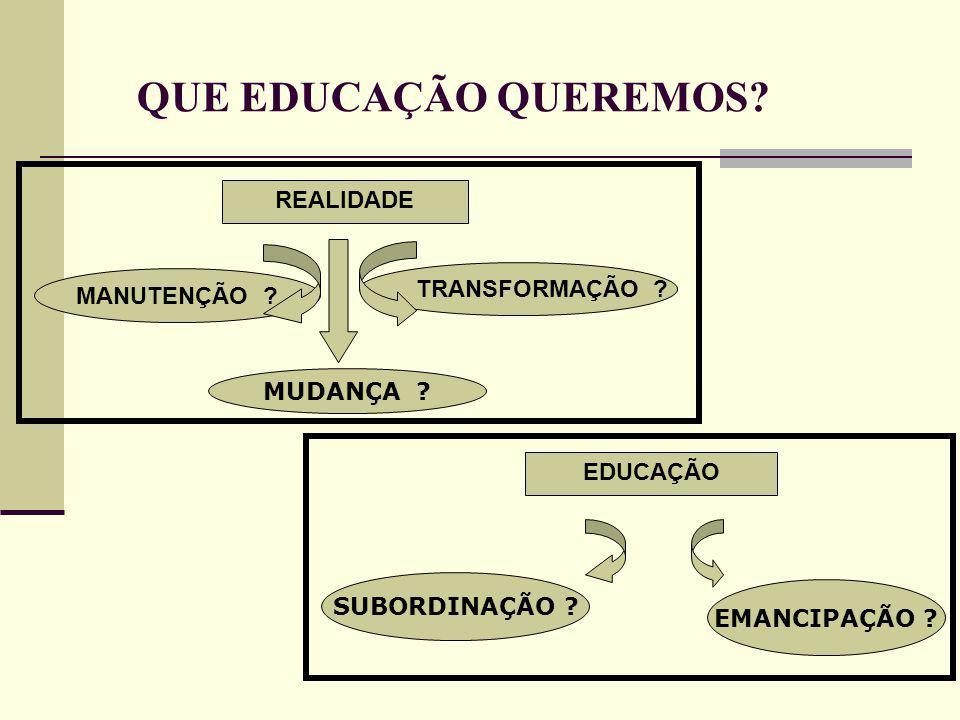 SUBORDINAÇÃO . EMANCIPAÇÃO . EDUCAÇÃOREALIDADE MANUTENÇÃO .