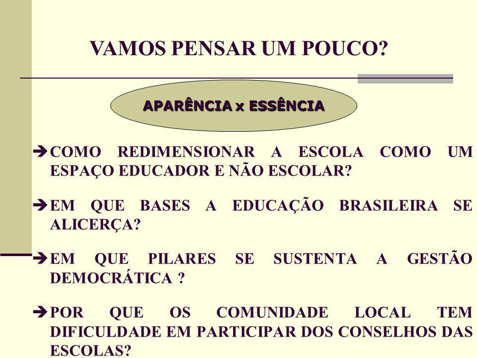  COMO REDIMENSIONAR A ESCOLA COMO UM ESPAÇO EDUCADOR E NÃO ESCOLAR.