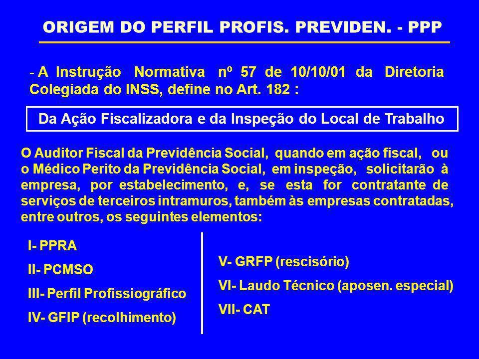 - A Instrução Normativa nº 57 de 10/10/01 da Diretoria Colegiada do INSS, define no Art. 182 : O Auditor Fiscal da Previdência Social, quando em ação