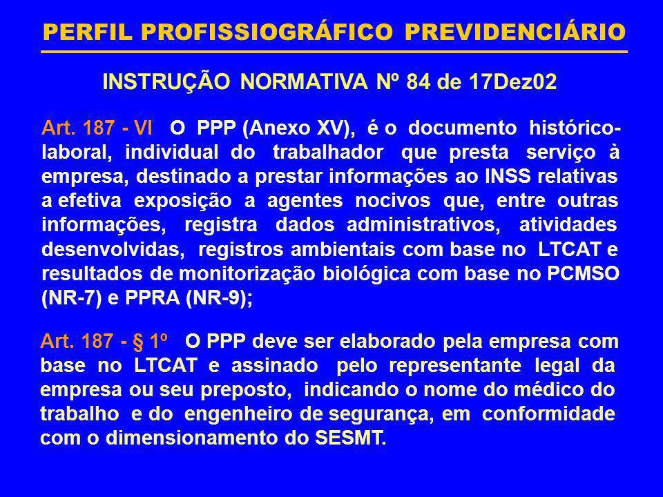PERFIL PROFISSIOGRÁFICO PREVIDENCIÁRIO INSTRUÇÃO NORMATIVA Nº 84 de 17Dez02 Art. 187 - VI O PPP (Anexo XV), é o documento histórico- laboral, individu