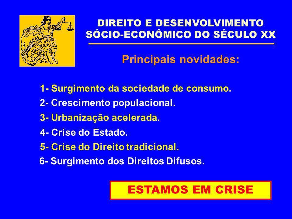Principais novidades: DIREITO E DESENVOLVIMENTO SÓCIO-ECONÔMICO DO SÉCULO XX ESTAMOS EM CRISE 1- Surgimento da sociedade de consumo. 2- Crescimento po