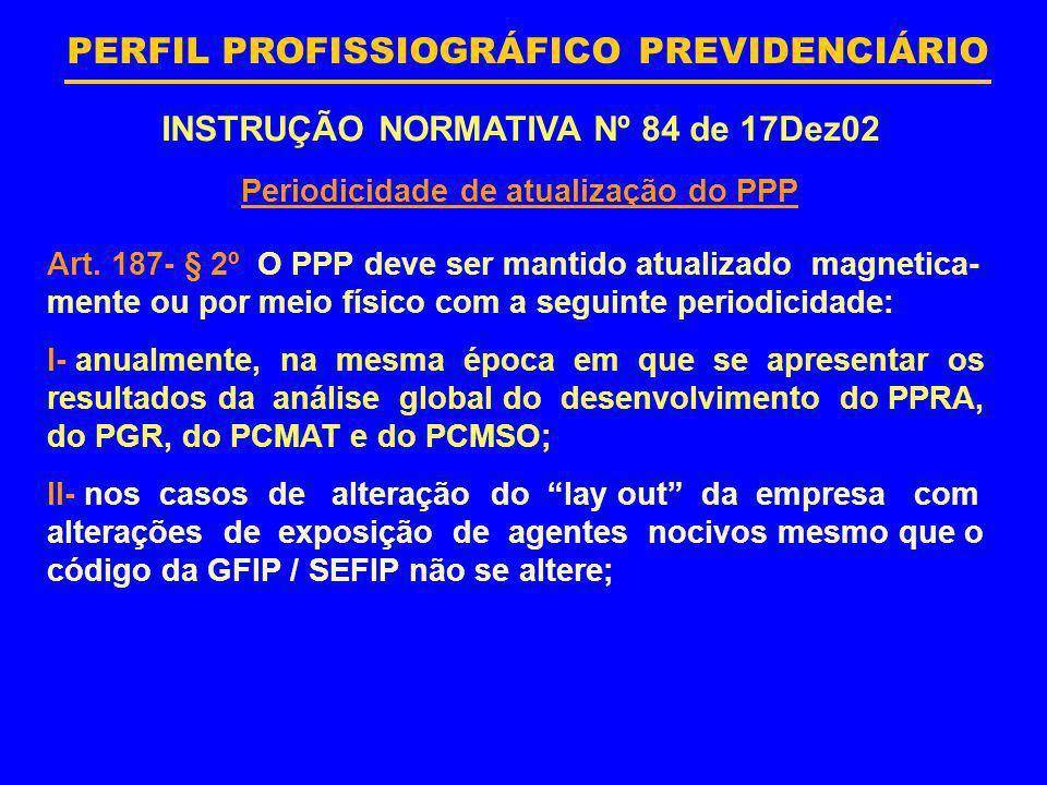 PERFIL PROFISSIOGRÁFICO PREVIDENCIÁRIO INSTRUÇÃO NORMATIVA Nº 84 de 17Dez02 Periodicidade de atualização do PPP Art. 187- § 2º O PPP deve ser mantido