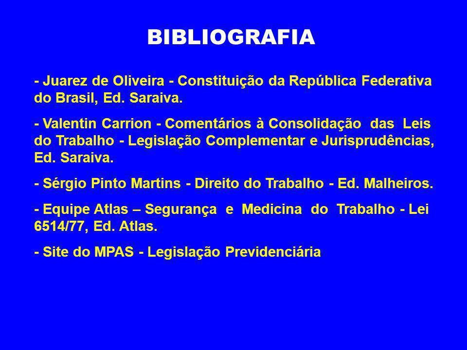 BIBLIOGRAFIA - Juarez de Oliveira - Constituição da República Federativa do Brasil, Ed. Saraiva. - Valentin Carrion - Comentários à Consolidação das L