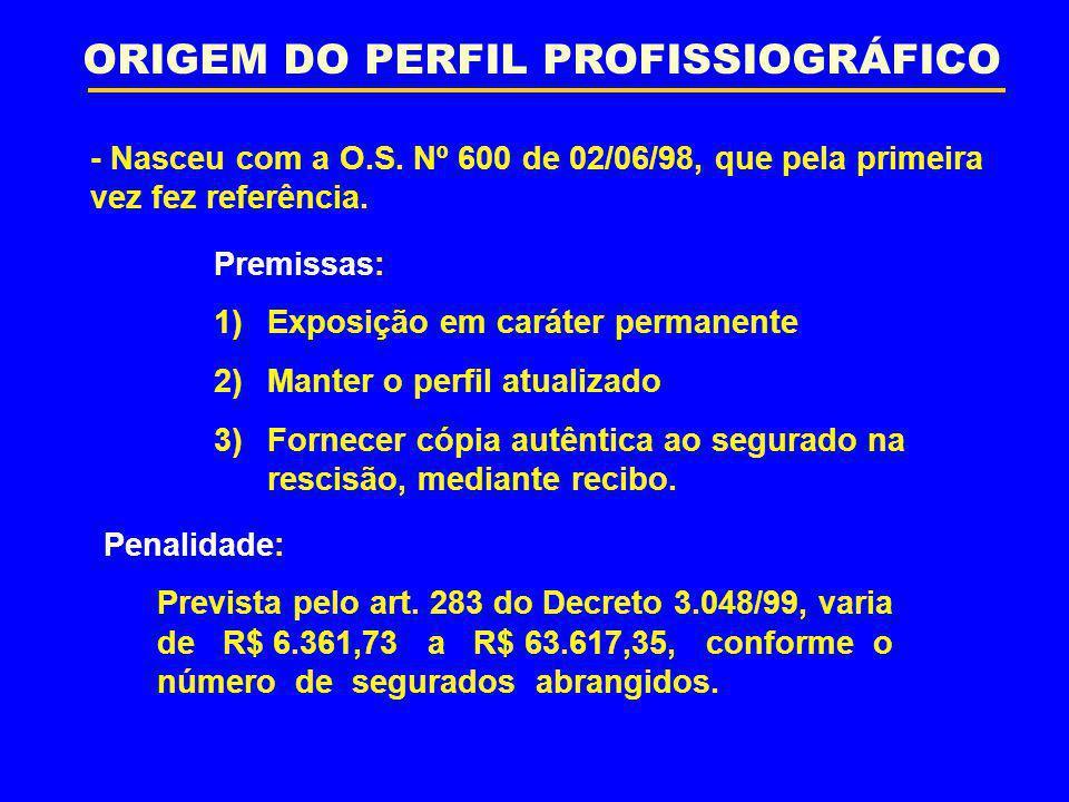 ORIGEM DO PERFIL PROFISSIOGRÁFICO - Nasceu com a O.S. Nº 600 de 02/06/98, que pela primeira vez fez referência. Premissas: 1)Exposição em caráter perm