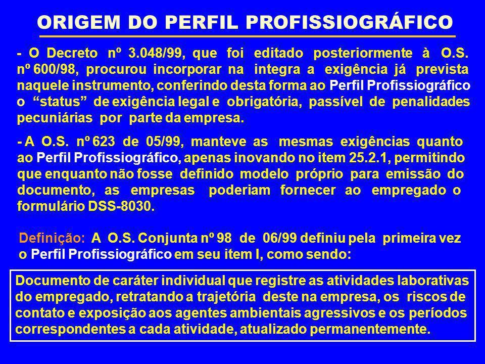ORIGEM DO PERFIL PROFISSIOGRÁFICO - O Decreto nº 3.048/99, que foi editado posteriormente à O.S. nº 600/98, procurou incorporar na integra a exigência
