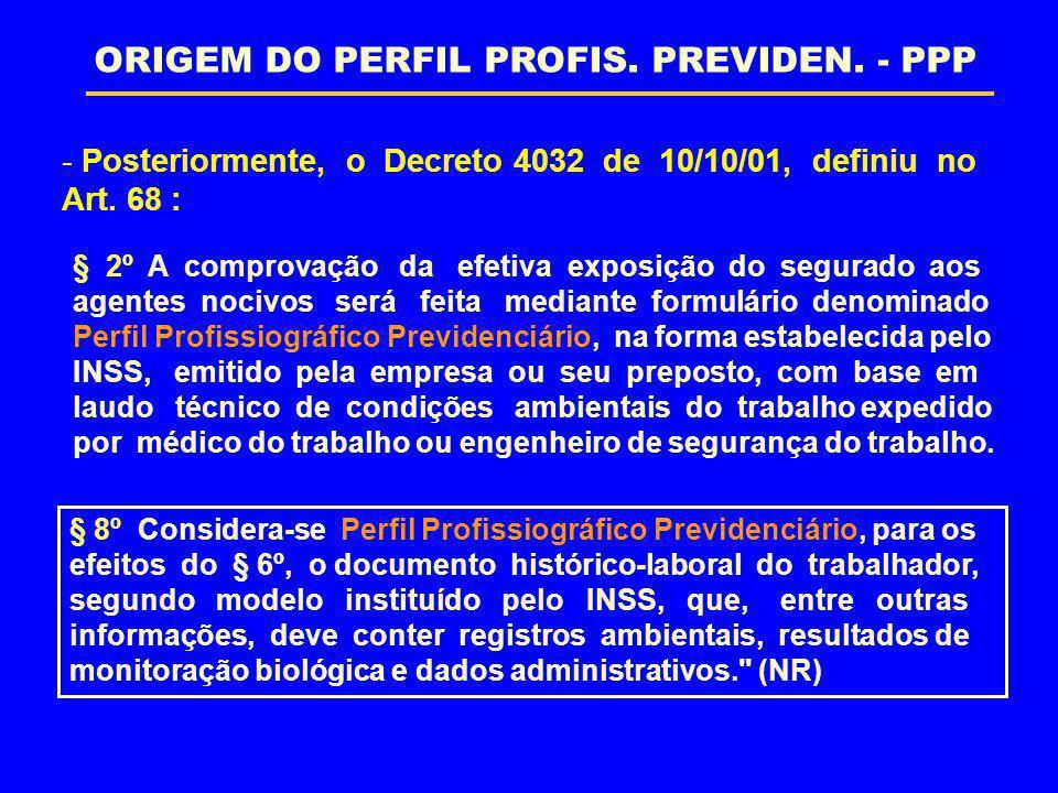 - Na mesma data foi editada a Instrução Normativa nº 57 (10/10/01), definiu no Art.179 inciso V: O Perfil Profissiográfico Previdenciário é o documento histórico de laboração, personalíssimo, do trabalhador que presta serviço à empresa, que, entre outras informações, registra dados administrativos, parâmetros ambientais e indicadores biológicos. ORIGEM DO PERFIL PROFISSIOGRÁFICO PREVIDENCIÁRIO - PPP
