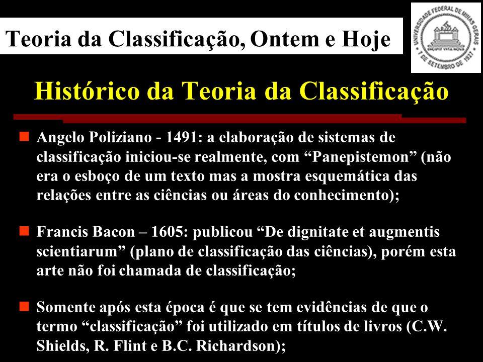 Teoria da Classificação, Ontem e Hoje Histórico da Teoria da Classificação Angelo Poliziano - 1491: a elaboração de sistemas de classificação iniciou-se realmente, com Panepistemon (não era o esboço de um texto mas a mostra esquemática das relações entre as ciências ou áreas do conhecimento); Francis Bacon – 1605: publicou De dignitate et augmentis scientiarum (plano de classificação das ciências), porém esta arte não foi chamada de classificação; Somente após esta época é que se tem evidências de que o termo classificação foi utilizado em títulos de livros (C.W.