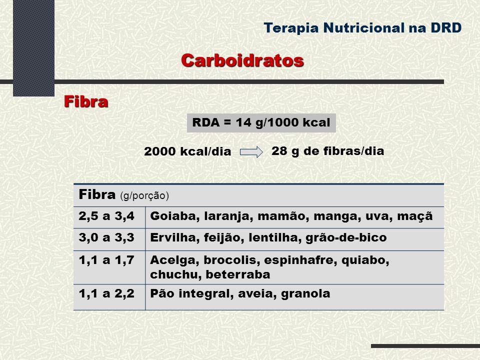 Carboidratos Terapia Nutricional na DRD RDA = 14 g/1000 kcal Fibra 2000 kcal/dia 28 g de fibras/dia Fibra (g/porção) 2,5 a 3,4Goiaba, laranja, mamão,
