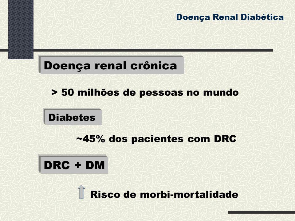 Doença renal crônica Doença Renal Diabética > 50 milhões de pessoas no mundo Diabetes ~45% dos pacientes com DRC Risco de morbi-mortalidade DRC + DM