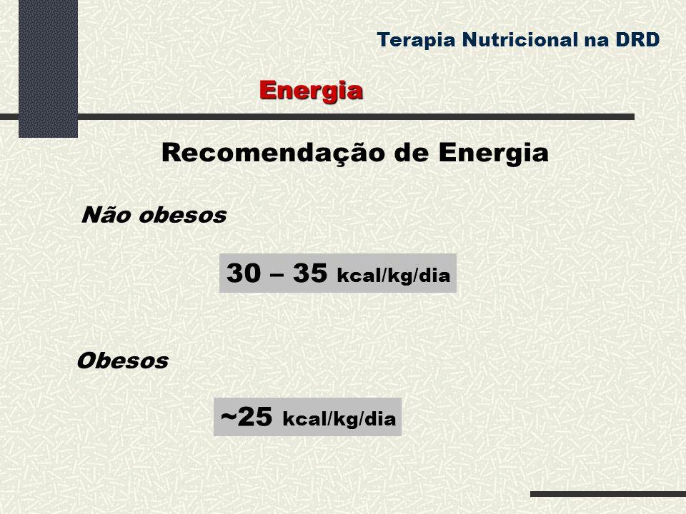 Recomendação de Energia 30 – 35 kcal/kg/dia Obesos ~25 kcal/kg/dia Energia Terapia Nutricional na DRD Não obesos