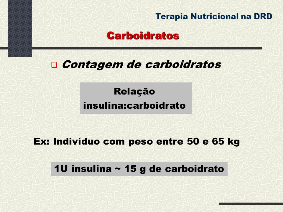 Relação insulina:carboidrato 1U insulina ~ 15 g de carboidrato Ex: Indivíduo com peso entre 50 e 65 kg Carboidratos Terapia Nutricional na DRD  Conta