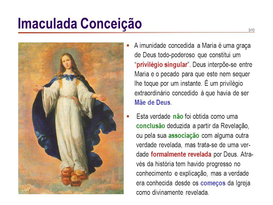 3/10 Imaculada Conceição  A imunidade concedida a Maria é uma graça de Deus todo-poderoso que constitui um privilégio singular .