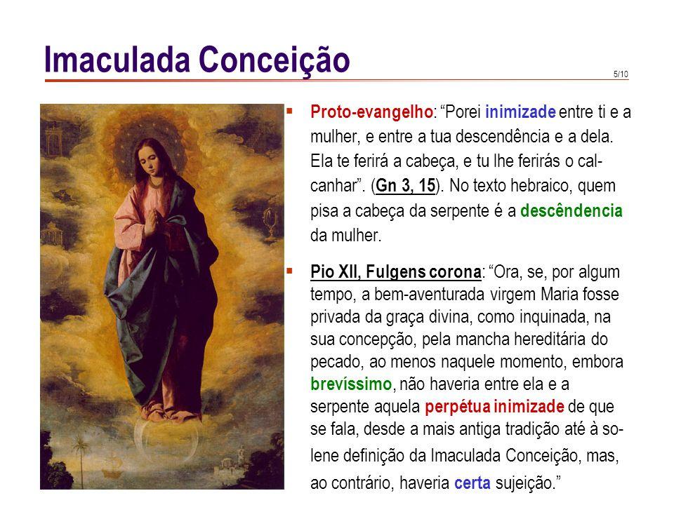 5/10 Imaculada Conceição  Proto-evangelho : Porei inimizade entre ti e a mulher, e entre a tua descendência e a dela.