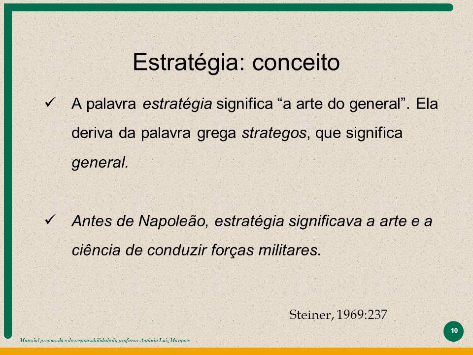 """Material preparado e de responsabilidade do professor Antônio Luiz Marques 10 Estratégia: conceito A palavra estratégia significa """"a arte do general""""."""