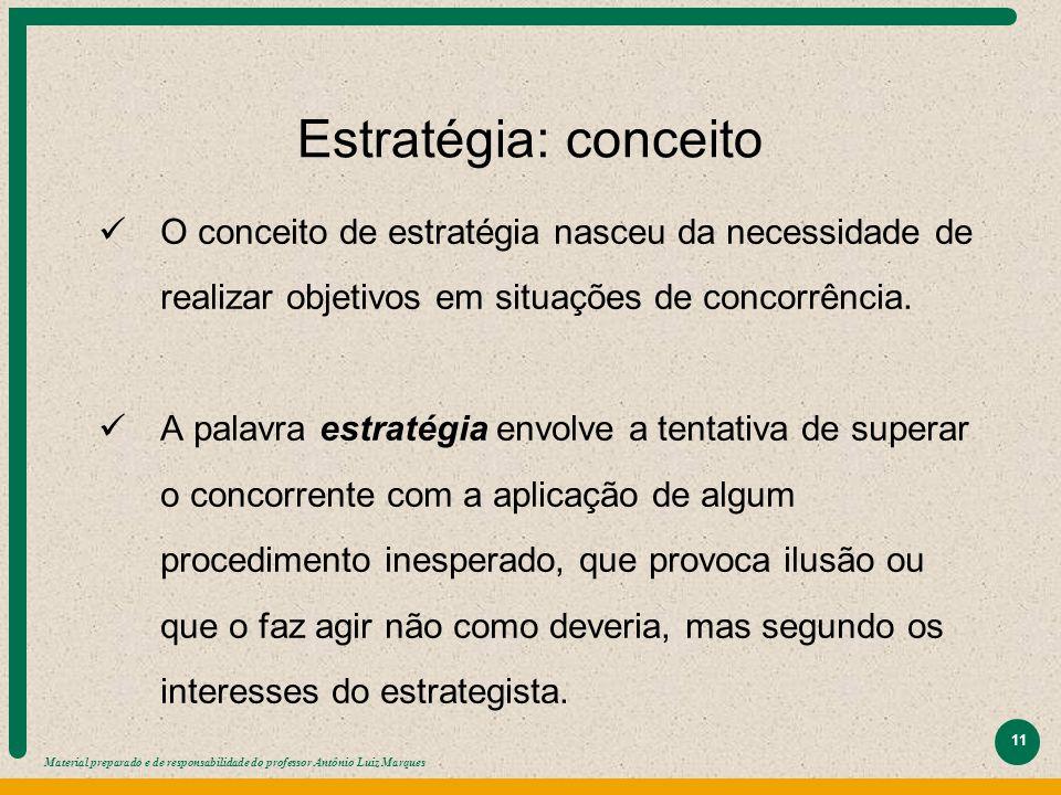 Material preparado e de responsabilidade do professor Antônio Luiz Marques 11 Estratégia: conceito O conceito de estratégia nasceu da necessidade de r