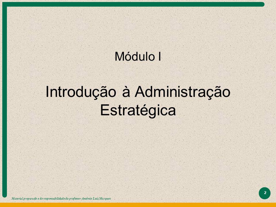 Material preparado e de responsabilidade do professor Antônio Luiz Marques 2 Módulo I Introdução à Administração Estratégica