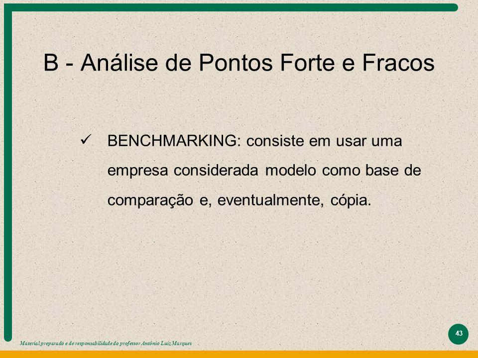 Material preparado e de responsabilidade do professor Antônio Luiz Marques 43 B - Análise de Pontos Forte e Fracos BENCHMARKING: consiste em usar uma