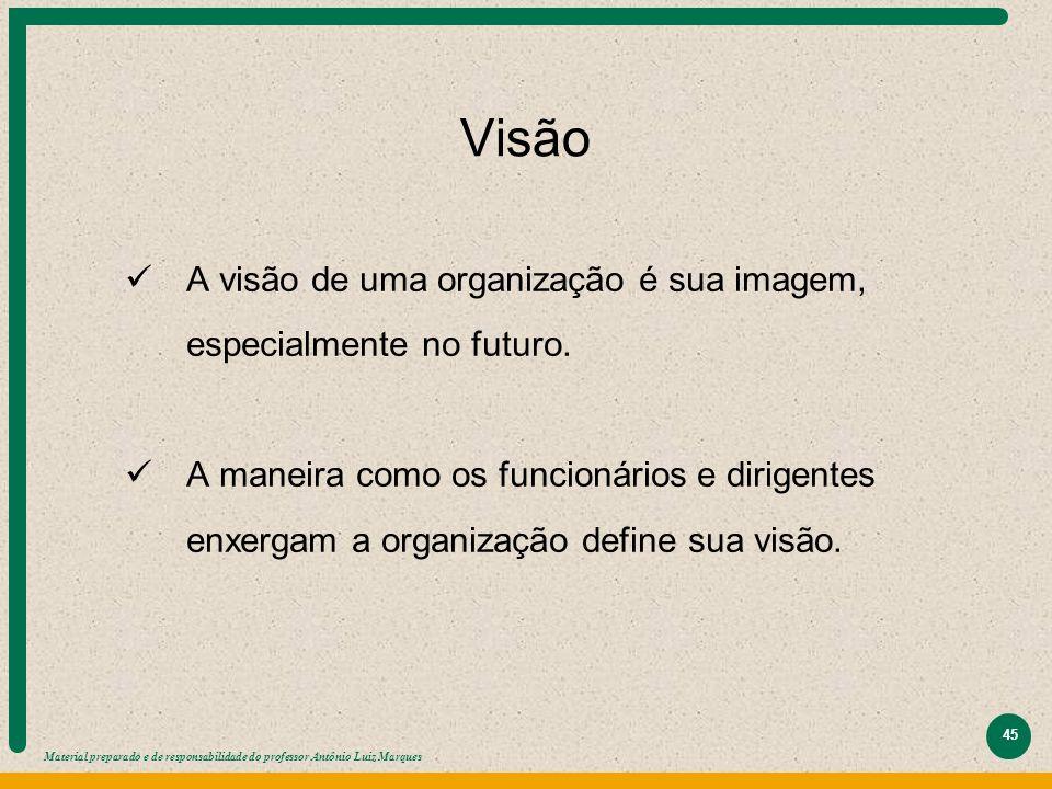 Material preparado e de responsabilidade do professor Antônio Luiz Marques 45 Visão A visão de uma organização é sua imagem, especialmente no futuro.