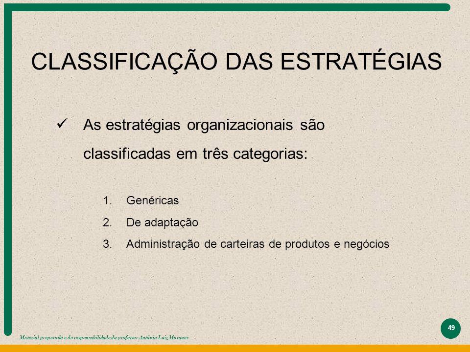Material preparado e de responsabilidade do professor Antônio Luiz Marques 49 CLASSIFICAÇÃO DAS ESTRATÉGIAS As estratégias organizacionais são classif