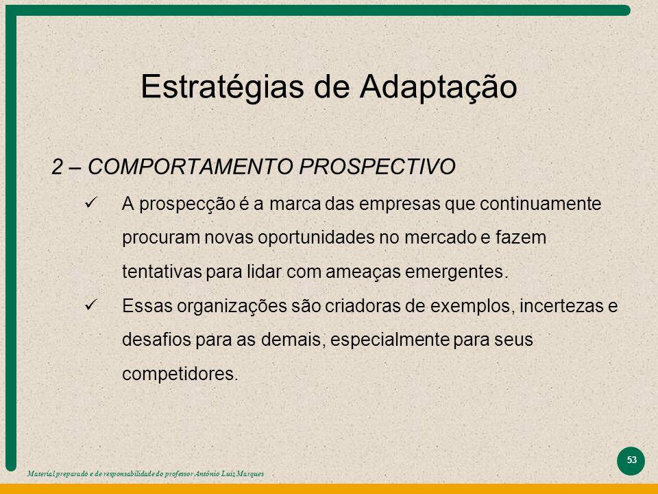Material preparado e de responsabilidade do professor Antônio Luiz Marques 53 Estratégias de Adaptação 2 – COMPORTAMENTO PROSPECTIVO A prospecção é a