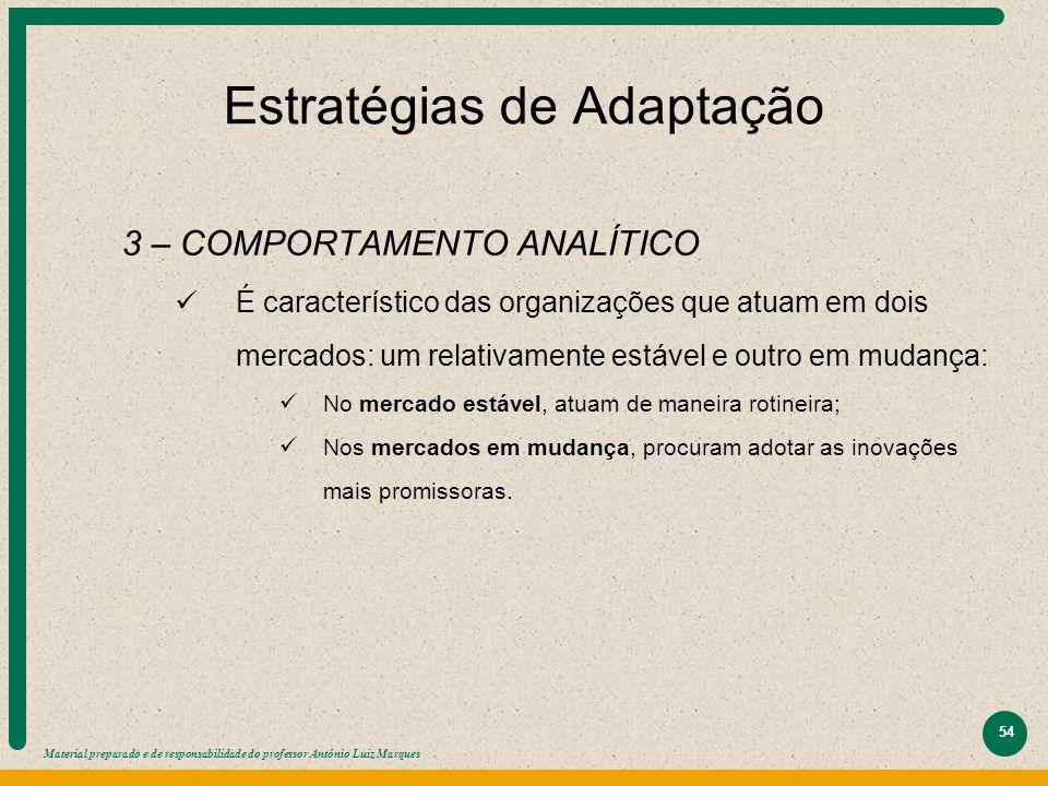 Material preparado e de responsabilidade do professor Antônio Luiz Marques 54 Estratégias de Adaptação 3 – COMPORTAMENTO ANALÍTICO É característico da
