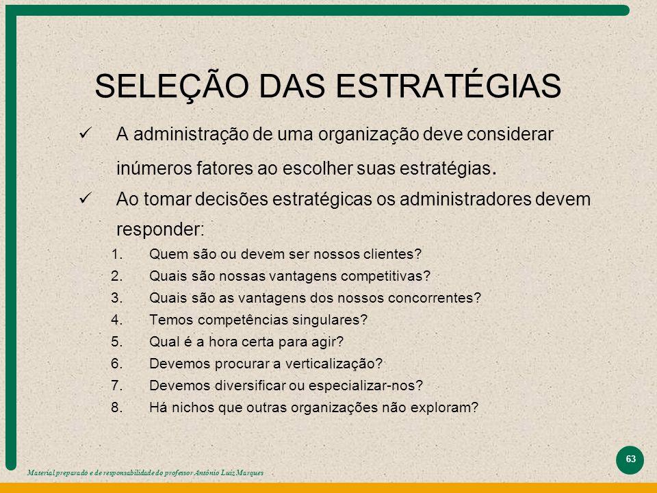 Material preparado e de responsabilidade do professor Antônio Luiz Marques 63 SELEÇÃO DAS ESTRATÉGIAS A administração de uma organização deve consider