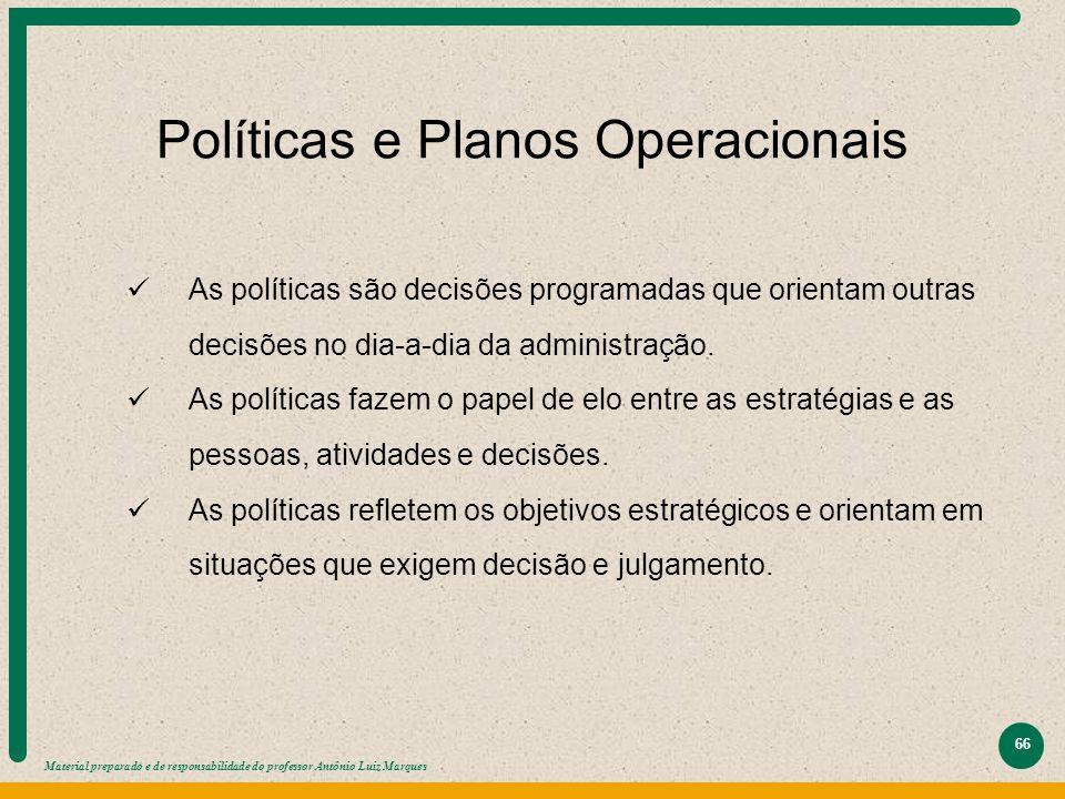 Material preparado e de responsabilidade do professor Antônio Luiz Marques 66 Políticas e Planos Operacionais As políticas são decisões programadas qu