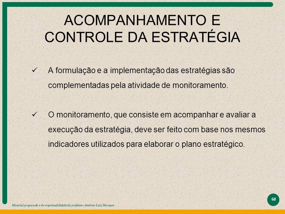 Material preparado e de responsabilidade do professor Antônio Luiz Marques 68 ACOMPANHAMENTO E CONTROLE DA ESTRATÉGIA A formulação e a implementação d