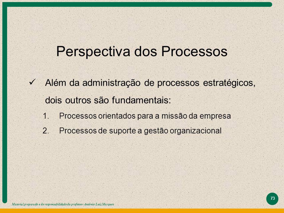 Material preparado e de responsabilidade do professor Antônio Luiz Marques 73 Perspectiva dos Processos Além da administração de processos estratégico