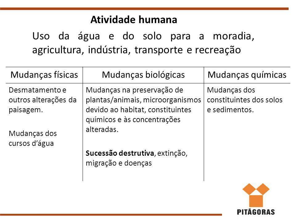 Mudanças físicasMudanças biológicasMudanças químicas Desmatamento e outros alterações da paisagem.