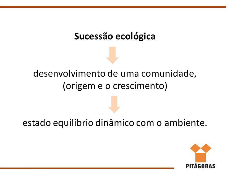 Sucessão ecológica desenvolvimento de uma comunidade, (origem e o crescimento) estado equilíbrio dinâmico com o ambiente.